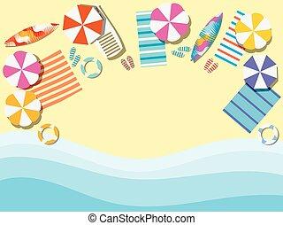 surfboard., 浜, 傘, とんぼ返り, イラスト, ラウンジ, above., flops., ベクトル, ベッドカバー, chaise, 海岸, waves., 光景