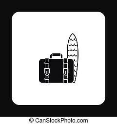 Surfboard and suitcase icon, simple style