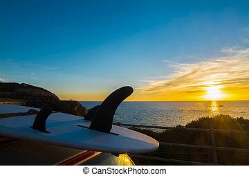 surfboard at dusk