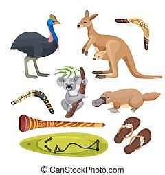 surfboard, australia, isolated., ornitorinco, simboli, didgeridoo, canguro, boomerang, koala, struzzo