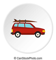 Surfboard car icon, flat style
