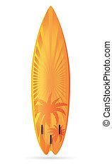 surfboard, con, uno, paesaggio, vettore, illustrazione