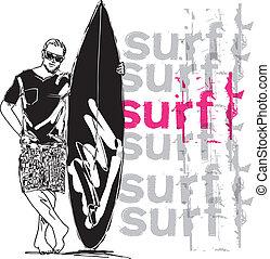 surfboard., croquis, vecteur, illustration, homme