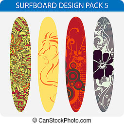 Surfboard design pack 5 - Vector pack of four colorful...