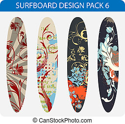 Surfboard design pack 6 - Vector pack of four colorful...