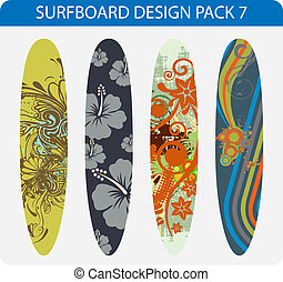 Surfboard design pack 7 - Vector pack of four colorful...