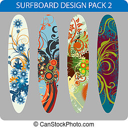 Vector pack of four colorful surfboard designs
