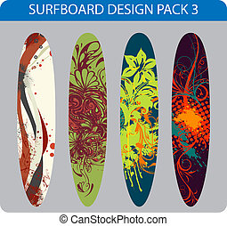 Surfboard design pack - Vector pack of four colorful...