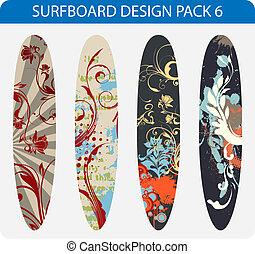surfboard, disegno, pacco, 6