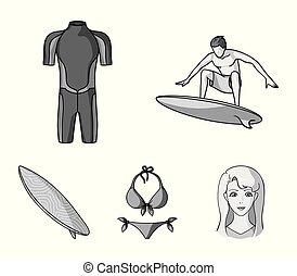 surfboard., duikerspak, stijl, surfing, iconen, symbool, web., verzameling, surfer, set, vector, illustratie, bikini, monochroom, liggen