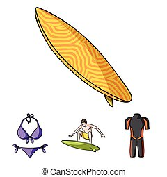 surfboard., duikerspak, stijl, surfing, iconen, symbool, web., verzameling, surfer, set, vector, illustratie, bikini, spotprent, liggen