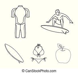surfboard., duikerspak, stijl, surfing, schets, iconen, symbool, web., verzameling, surfer, set, vector, illustratie, bikini, liggen