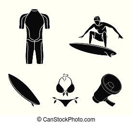 surfboard., duikerspak, stijl, surfing, set, iconen, symbool, web., verzameling, surfer, vector, black , illustratie, bikini, liggen