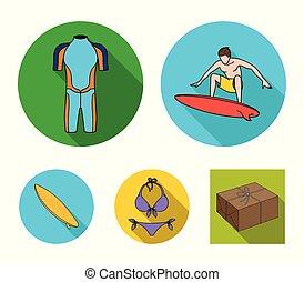 surfboard., duikerspak, stijl, surfing, set, iconen, symbool, web., verzameling, surfer, vector, plat, illustratie, bikini, liggen
