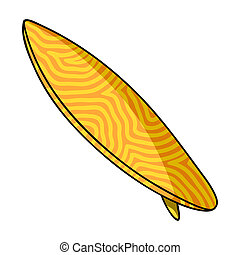 Surfboard icon in cartoon style isolated on white...