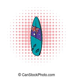 Surfboard icon in comics style