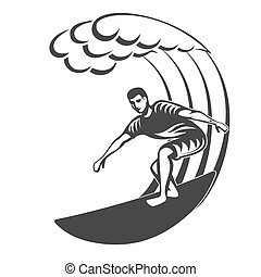 surfboard., logotype, grande, wave., vendimia, hombres, surf, oleaje, logo.