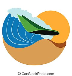 Surfboard on an ocean wave icon
