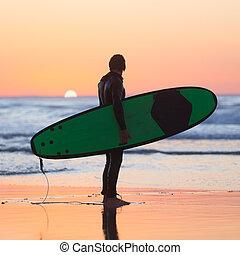 surfboard., plage, silhouette, surfeur