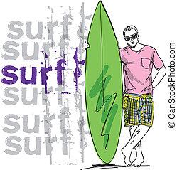 surfboard., rys, wektor, ilustracja, człowiek
