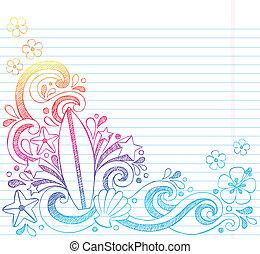 Surfboard Summer Beach Doodle