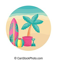 surfboard with tropical palm and icons in beach