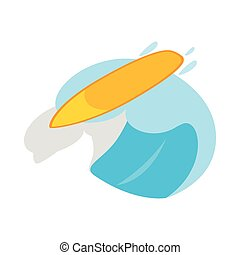 Surfboard with wave icon, isometric 3d style