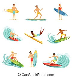 Surfboarders riding on waves set, surfer men with surfboards...