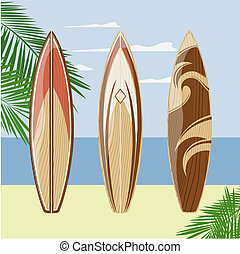 surfboards beach - three surfboards on a beach background,...