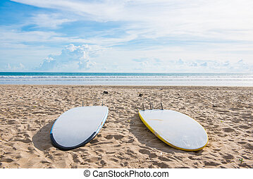 surfboards on sand at the beach