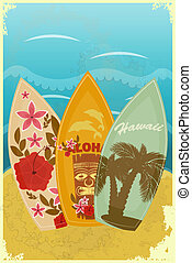 Surfboards on the beach - vintage postcard - Surfboards on...