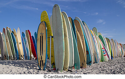 Surfboards - JACKSONVILLE BEACH, FL. USA - JUNE 6, 2015:...
