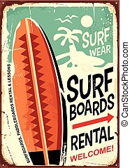 Surfboards rentals retro tin sign design