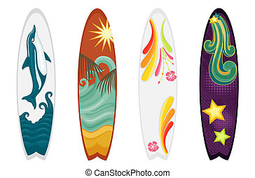 Set of four surfboards - dolphin, retro, hibiscus and ocean themes. Isolated over white background. Vector file saved as EPS AI8, all elements layered and grouped. No gradients, no effects, easy print.