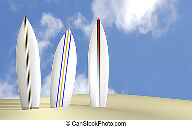 Surfboards - Image of three surfboards on a sunny beach.