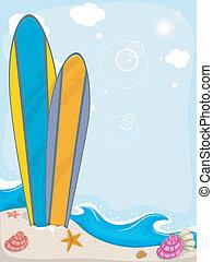 surfboards, tło