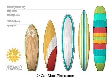 Vector surfboards for infographics and posters