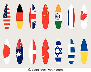 Surfboards with flags of the world. Set. Vector illustration