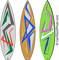 surfbrett, grafik, streifen, :, vinyl, bereit
