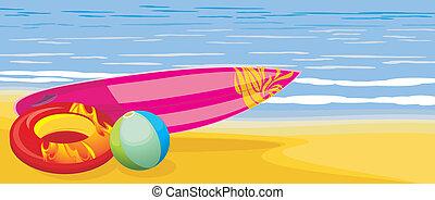 surfbrett, kugel, sandstrand, matratze
