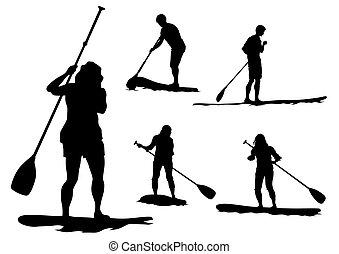 surfbrett, mit, paddel