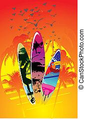 surfbrett, ratte, vektor, handfläche, design, sandstrand