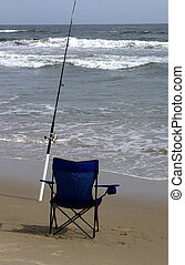 surfen fischen, stange, und, stuhl