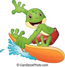 surfen, karikatur, frosch