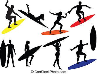 surfen, silhouetten