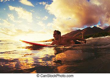 surfen, sonnenuntergang