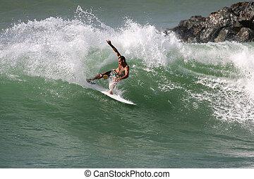surfen, welle