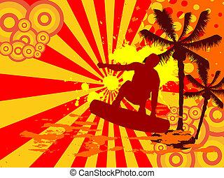 surfer, -, été