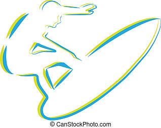 outline of surfer watersport event