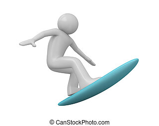 Surfer - 3d isolated characters on white background, sports...